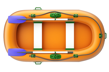 Inflatable boat. isolated on white background. 3d illustration. Stock Photo