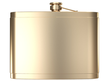 Golden Hip flask. isolated on white background. 3d illustration. Reklamní fotografie