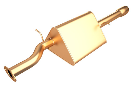 Golden car muffler (Exhaust Pipe). isolated on white background. 3d illustration. Stock Photo