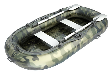 inflatable: Inflatable boat. isolated on white background. 3d illustration. Stock Photo