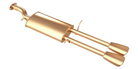 Golden car muffler (Exhaust Pipe). isolated on white background. 3d illustration. Reklamní fotografie