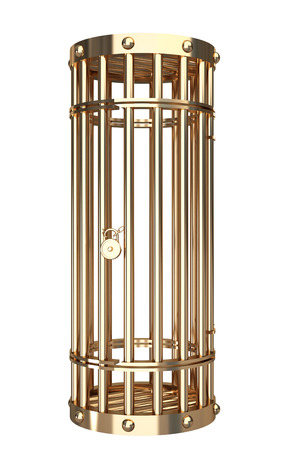 enclose: Collection of gold objects. A cage. isolated on white background. 3d illustration.