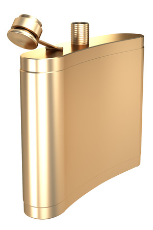 hip flask: Golden Hip flask. isolated on white background. 3d illustration. Stock Photo