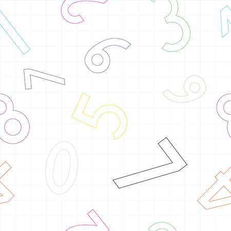 Seamless pattern with numbers from 0 to 9 in different colors Illustration