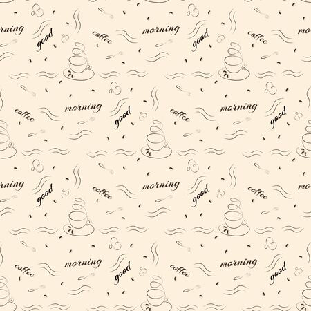 wishes: Seamless pattern with cup of coffee and good morning wishes Illustration
