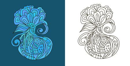 Abstract doodles (zen tangles) in strange flower form Ilustracja