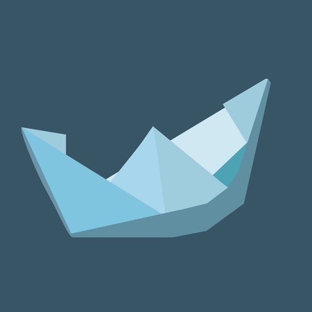 separation: Hand made paper boat in blue colors