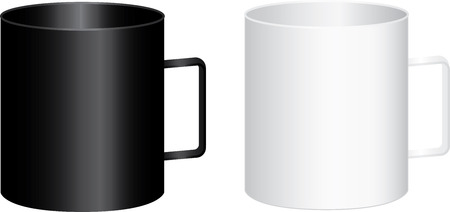 Two big black and white cups with handle