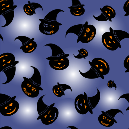 halloween pattern, seamless texture - pumpkins in witch hat - vector illustration in silhouettes Иллюстрация