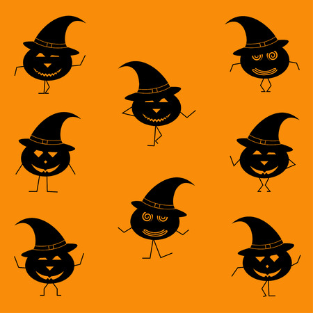 halloween dancing pumpkins with legs and hands- silhouette vector illustration Иллюстрация