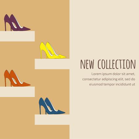 Mode achtergrond voor uitnodiging op nieuwe collectie presentatie in bruine kleuren met pumps (hofschoenen) op hoge hakken Stock Illustratie
