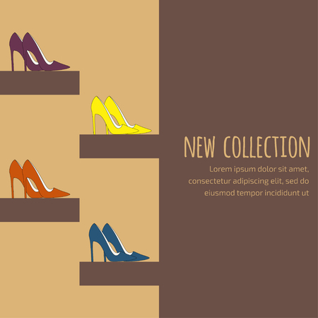 Mode-achtergrond voor de uitnodiging op nieuwe collectiepresentatie in donkere bruine kleuren met pompen (pumps) op hoge hakken