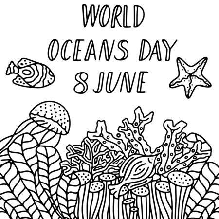 World oceans day 8 June. Black and white digital vector illustration