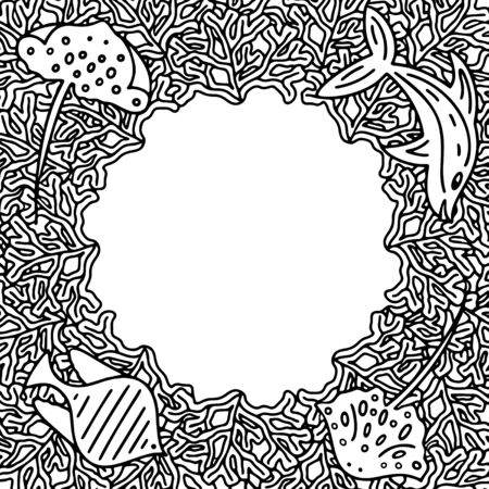 Circle black and white vector frame for card or invitation with seaweeds and guitar fishes. 일러스트