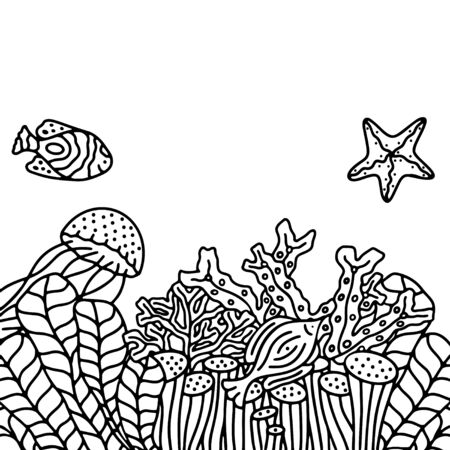 Vector black and white hand drawn background with marine life.