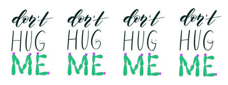 Cute cactus quote about hug and love. All letterings are isolated on white background.