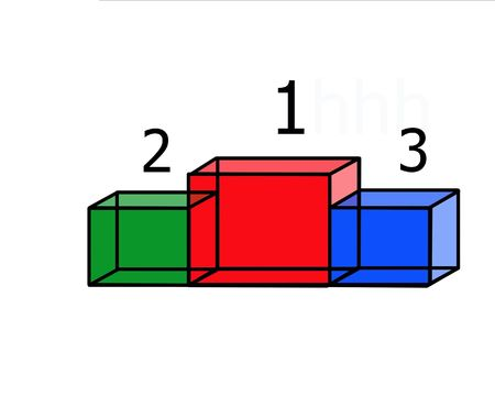 conquering: Steps advances 1, 2 and 3 places in the form of colored transparent cubes with numbers Stock Photo