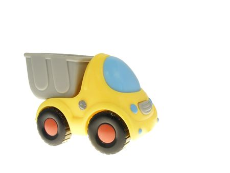 The toy truck with a body isolated on white background Stock Photo