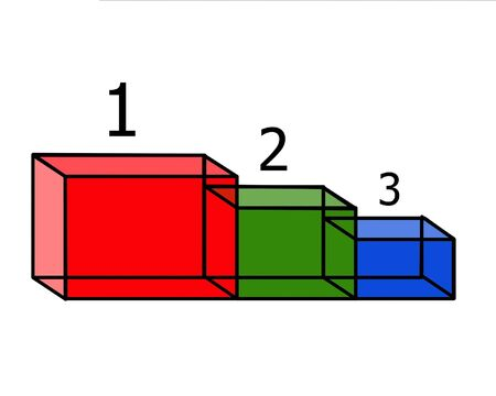 Steps advances 1, 2 and 3 places in the form of colored transparent cubes with numbers photo