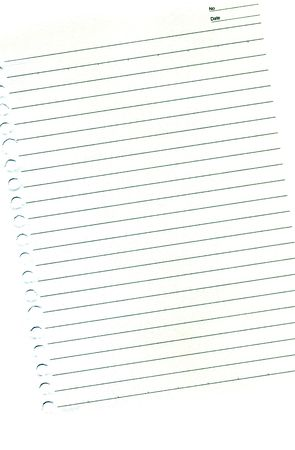 entries: Blank page from the diary with columns for date and number of entries  isolated ower white background Stock Photo