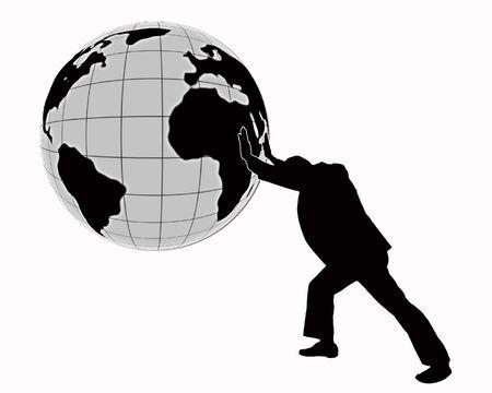 Image businessman pushing hands globe isolated ower white