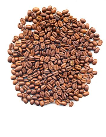 Coffee beans packed in a single layer isolated on a white background Stock Photo