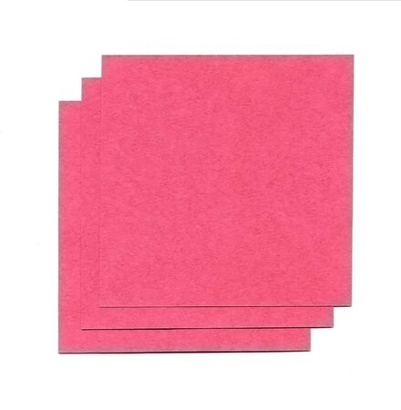 Red sheets of paper for notes isolated on white background