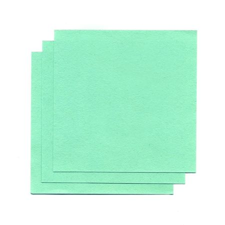 Green sheets of paper for notes isolated on white background