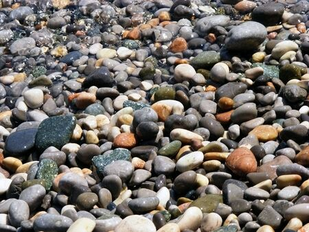 Marine wet pebbles of different colors illuminated by the sun