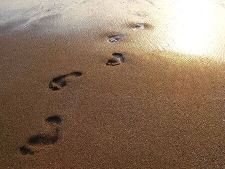 Some footprints on the wet sand of the sea into the sunset