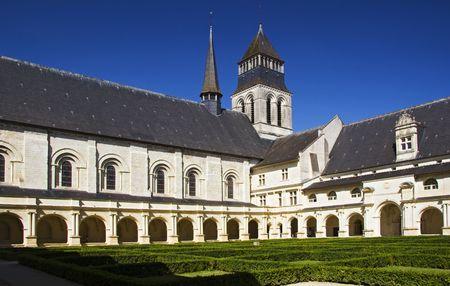 abbaye: Courtyard of Abbaye de Fontevraud, , France Stock Photo