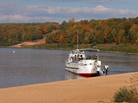 ferryboat: Stop of Old Ferryboat at Oka River