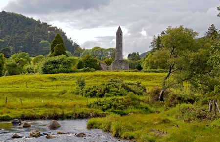 monastic: Veiw of valley and Round tower at Glendalough