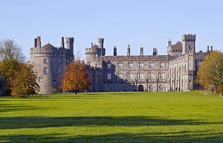norman castle: View to Kilkenny Castle from park in autumn