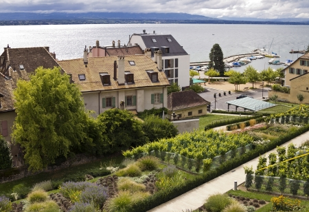 View of Nyon town and lake Geneva photo