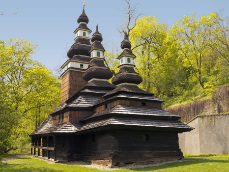 bilding: The wooden church consecrated to St  Michael is situated in the upper part of Kinskeho garden on Petrin Hill Stock Photo