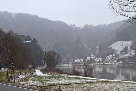 Snowy Landscape of Danube Valley photo