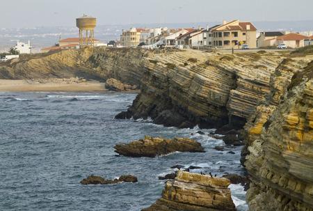 lamellar: Unusual Cliffs of Peniche Peninsula Stock Photo