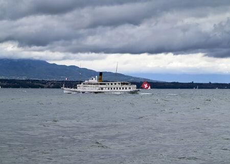 paddle wheel: Paddle wheel steamer cruise ship on Lake Geneva Stock Photo