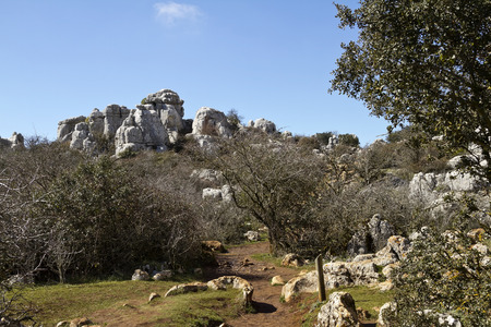 crack climbing: Park El Torcal de Antequera is a nature reserve in the Sierra del Torcal mountain range