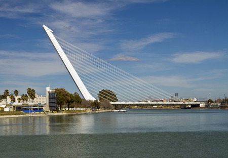 spar: Alamillo Bridge is of the cantilever spar cable-stayed bridge type and consists of a single pylon Stock Photo