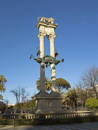 murillo: Columbus monument in The Gardens of Murillo, Seville,