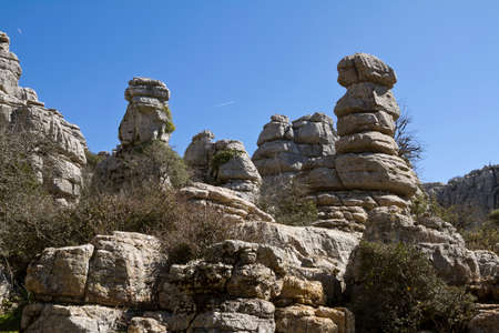 stratified: El Torcal Park is known for its unusual limestone rock formations