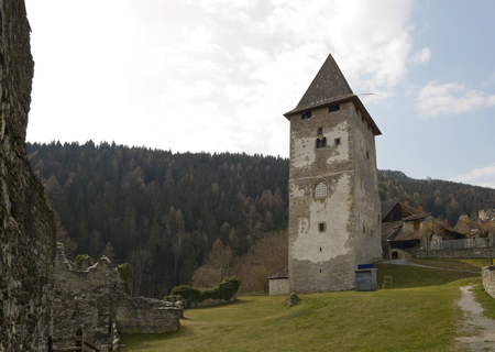 impregnable: Old tower of Petersberg Castle in Friesach Stock Photo
