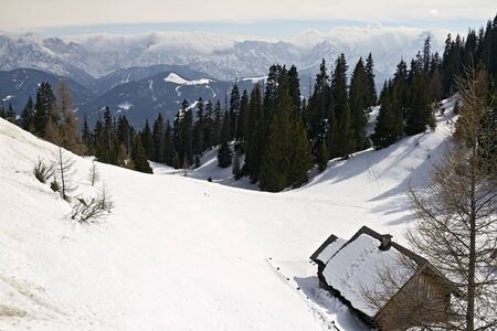 Relax Winter view of Alps near Rosstratten, Austria Stock Photo