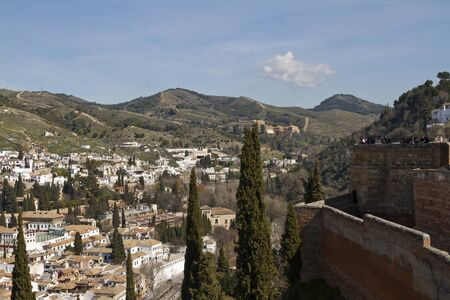 Granada View to Granada and  Sacromonte Abbey from Alhambra
