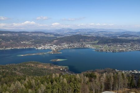 Woerthersee lake is located on the southern side of the alps