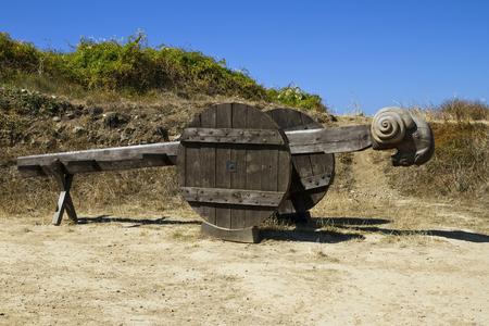 Wooden battering ram near medieval castle Fort La Latte