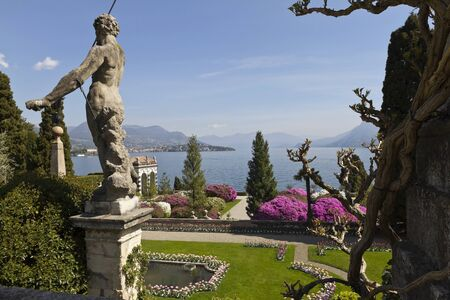 Garden of Isola Bella stretches out with terraces placed at different heights, adorned with statues and balustrades Stock fotó