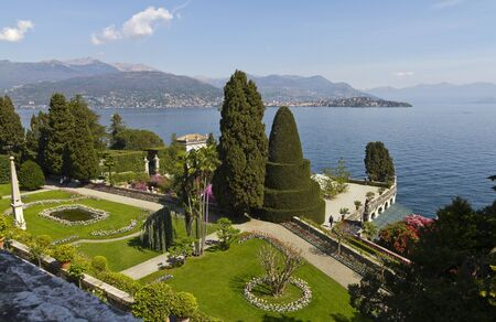 Blooming gardens of Isola Bella and view of Lake Maggiore